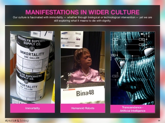 36 MANIFESTATIONS IN WIDER CULTURE Our culture is fascinated with immortality — whether through biological or technologica...