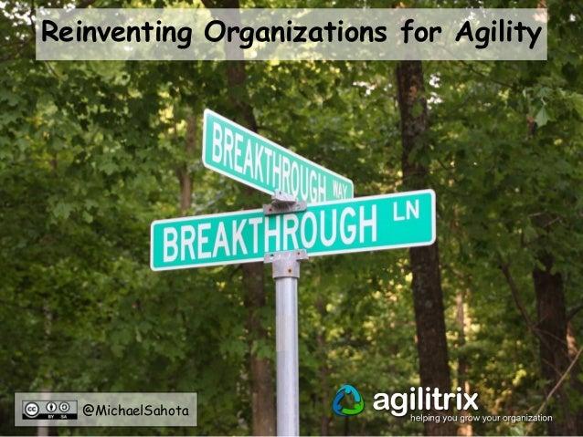 @MichaelSahota Reinventing Organizations for Agility