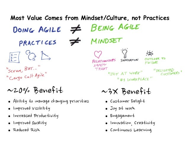 Most Value Comes from Mindset/Culture, not Practices ~20%