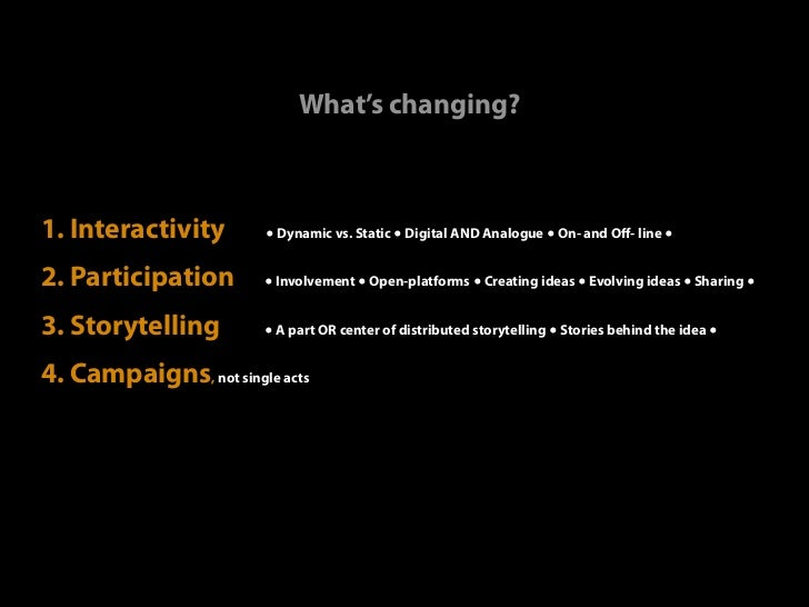 What's changing?1. Interactivity        ● Dynamic vs. Static ● Digital AND Analogue ● On- and Off- line ●2. Participation  ...