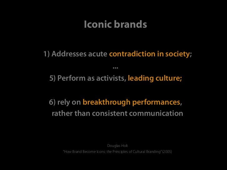 Iconic brands1) Addresses acute contradiction in society;                                   ... 5) Perform as activists, l...