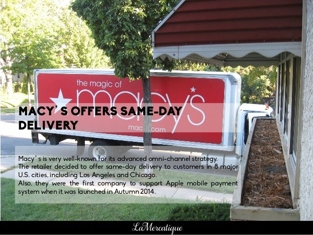 Macy's is very well-known for its advanced omni-channel strategy. The retailer decided to offer same-day delivery to custo...