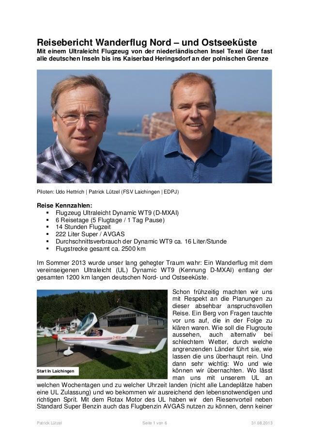 Patrick Lützel Seite 1 von 6 31.08.2013 Start In Laichingen Reisebericht Wanderflug Nord – und Ostseeküste Mit einem Ultra...