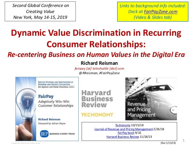 Dynamic Value Discrimination in Recurring Consumer Relationships: Re-centering Business on Human Values in the Digital Era...