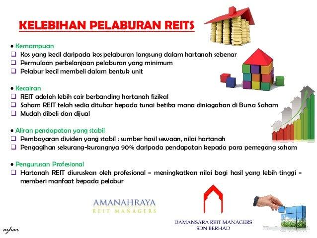 • Kemampuan  Kos yang kecil daripada kos pelaburan langsung dalam hartanah sebenar  Permulaan perbelanjaan pelaburan yan...