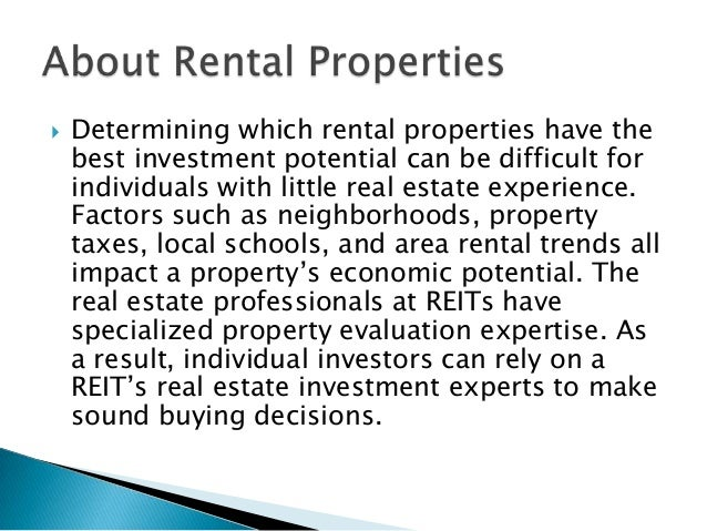 Real Estate Reit : Reit a good choice for investors with limited real