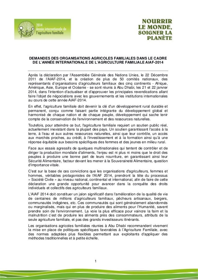 1  DEMANDES DES ORGANISATIONS AGRICOLES FAMILIALES DANS LE CADRE DE L'ANNÉE INTERNATIONALE DE L'AGRICULTURE FAMILIA...