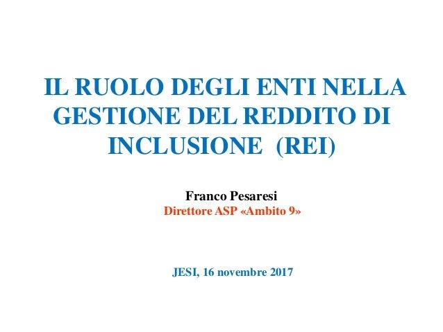 Ruolo degli enti nella gestione del reddito di inclusione (REI)