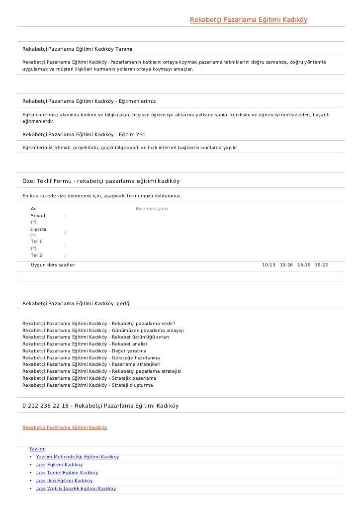 Rekabetçi Pazarlama Eğitimi KadıköyRekabetçi Pazarlama Eğitimi Kadıköy TanımıRekabetçi Pazarlama Eğitimi Kadıköy: Pazarlam...