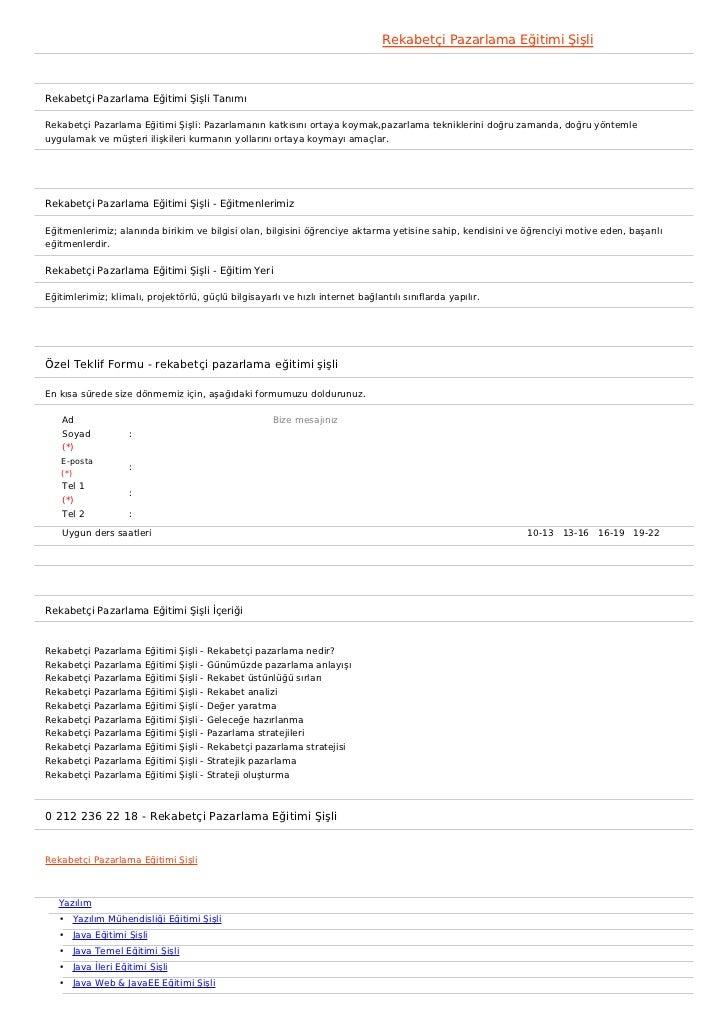 Rekabetçi Pazarlama Eğitimi ŞişliRekabetçi Pazarlama Eğitimi Şişli TanımıRekabetçi Pazarlama Eğitimi Şişli: Pazarlamanın k...