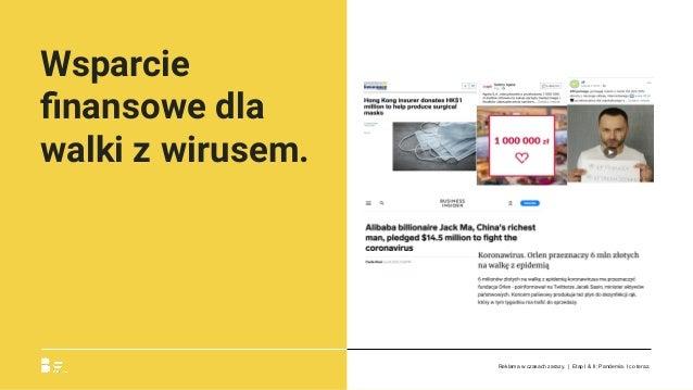 Wsparcie finansowe dla walki z wirusem. Reklama w czasach zarazy. | Etap I & II: Pandemia. I co teraz.