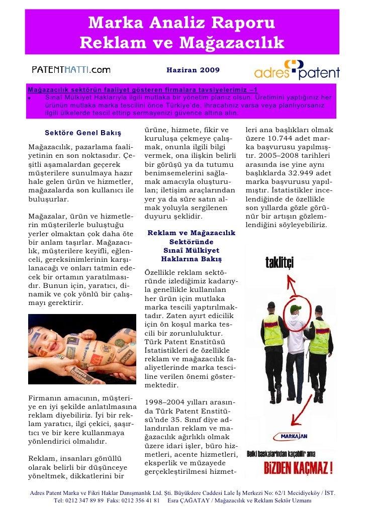 Marka Analiz Raporu                   Reklam ve Mağazacılık                                                    Haziran 200...