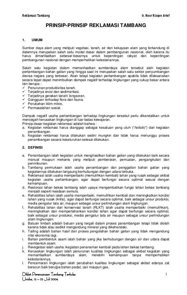 Reklamasi Tambang                                                            Ir. Noor Rizqon Arief               PRINSIP-P...