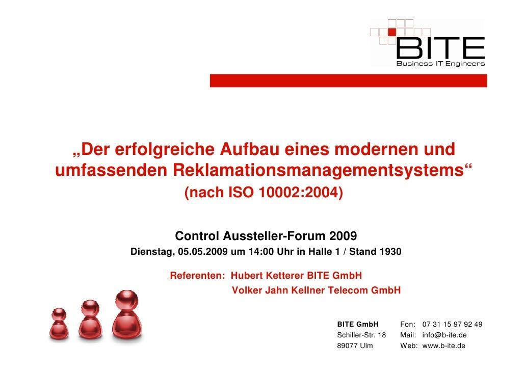 """""""Der erfolgreiche Aufbau eines modernen und umfassenden Reklamationsmanagementsystems""""                   (nach ISO 10002:2..."""