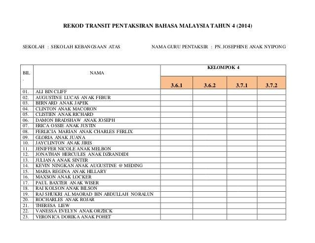 Rekod Transit Pentaksiran Bahasa Malaysia Tahun 4 Kel 4