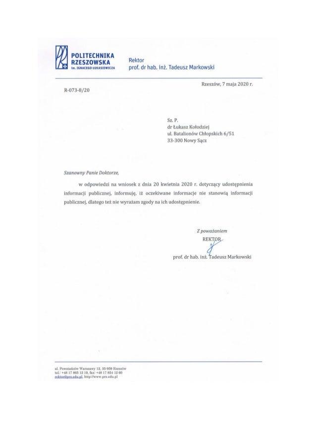 Rektor Politechniki Rzeszowskiej odmawia wyjawienia powodow wydania duplikatu dyplomu cygnara