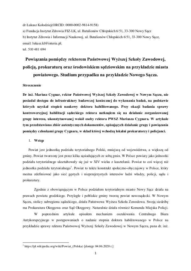 1 dr Łukasz Kołodziej(ORCID: 0000-0002-9814-9158) a) Fundacja Instytut Zdrowia FIZ-LK, ul. Batalionów Chłopskich 6/51, 33-...