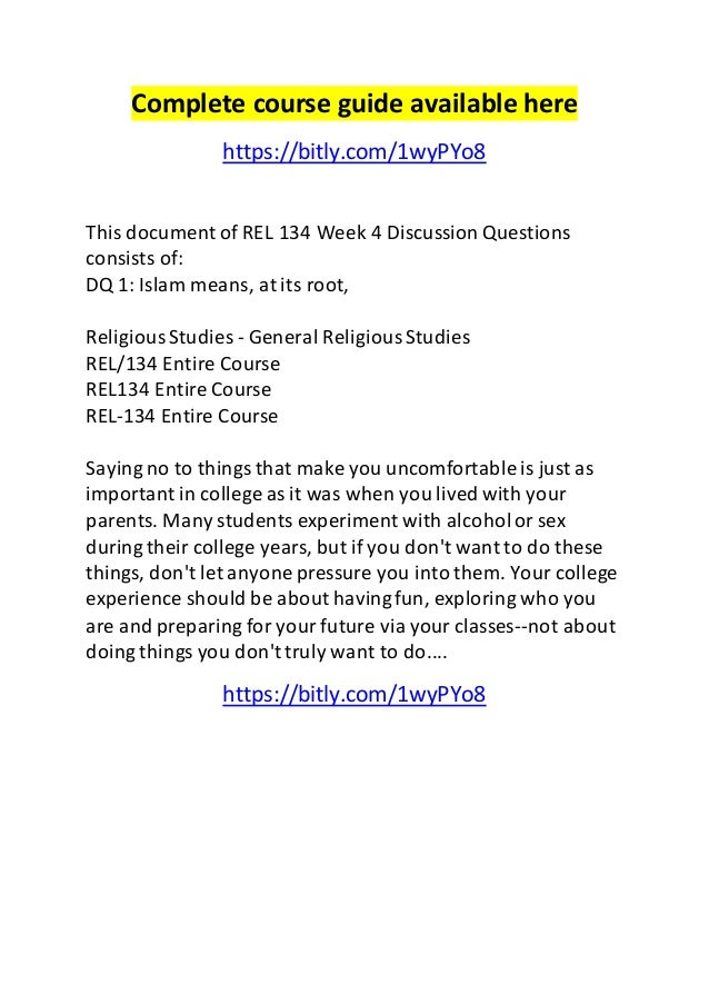 week 5 rel 134 View notes - rel134 w-5 from rel 134 at university of phoenix  head:  modern challenges 1 modern challenges fransheska gonzalez rel/134  jan 16,  7 pages week 5 learning team modern challenges facing islam  paper.