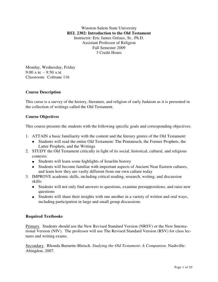 Winston-Salem State University<br />REL 2302: Introduction to the Old Testament<br />Instructor: Eric James Gréaux, Sr., P...