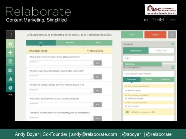 Content Marketing, Simplified    Andy Boyer | Co-Founder | andy@relaborate.com | @aboyer | @relaborate