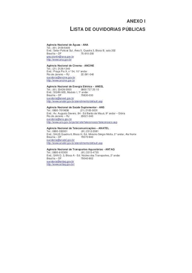 ANEXO I                    LISTA DE OUVIDORIAS PÚBLICASAgência Nacional de Águas - ANATel.: (61) 2109-5400End.: Setor Poli...