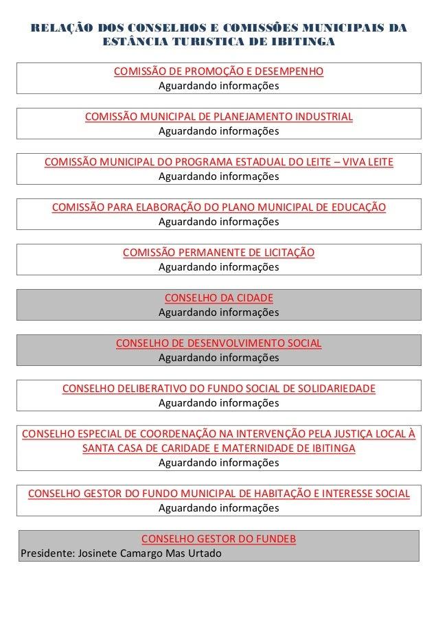 RELAÇÃO DOS CONSELHOS E COMISSÕES MUNICIPAIS DA          ESTÂNCIA TURISTICA DE IBITINGA                COMISSÃO DE PROMOÇÃ...
