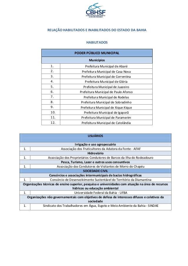 RELAÇÃO HABILITADOS E INABILITADOS DO ESTADO DA BAHIA HABILITADOS PODER PÚBLICO MUNICIPAL Municípios 1. Prefeitura Municip...