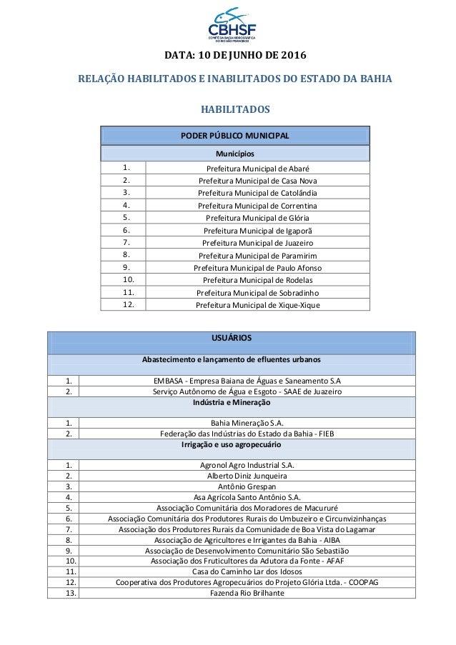 DATA: 10 DE JUNHO DE 2016 RELAÇÃO HABILITADOS E INABILITADOS DO ESTADO DA BAHIA HABILITADOS PODER PÚBLICO MUNICIPAL Municí...