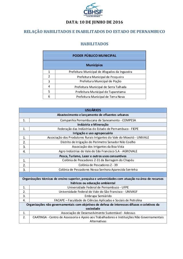 DATA: 10 DE JUNHO DE 2016 RELAÇÃO HABILITADOS E INABILITADOS DO ESTADO DE PERNAMBUCO HABILITADOS PODER PÚBLICO MUNICIPAL M...