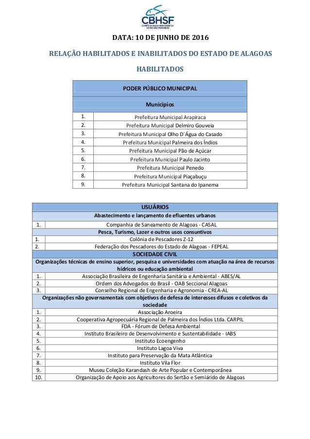 DATA: 10 DE JUNHO DE 2016 RELAÇÃO HABILITADOS E INABILITADOS DO ESTADO DE ALAGOAS HABILITADOS PODER PÚBLICO MUNICIPAL Muni...