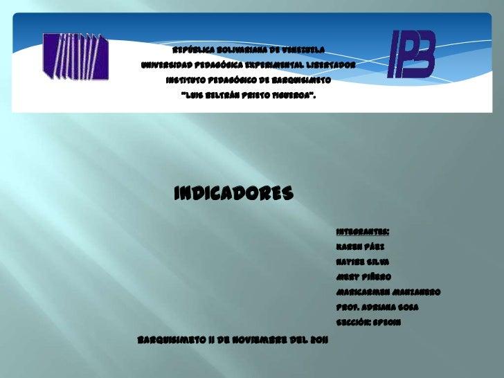 REPÚBLICA BOLIVARIANA DE VENEZUELAUNIVERSIDAD PEDAGÓGICA EXPERIMENTAL LIBERTADOR     INSTITUTO PEDAGÓGICO DE BARQUISIMETO ...
