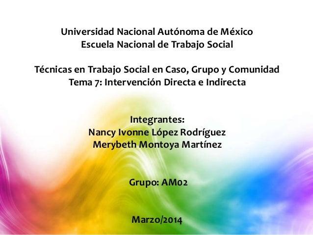 Universidad Nacional Autónoma de México Escuela Nacional de Trabajo Social Técnicas en Trabajo Social en Caso, Grupo y Com...