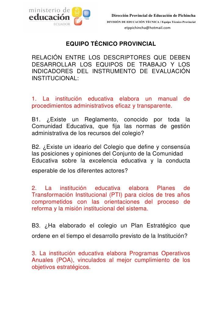 Dirección Provincial de Educación de Pichincha                             DIVISIÓN DE EDUCACIÓN TÉCNICA / Equipo Técnico ...