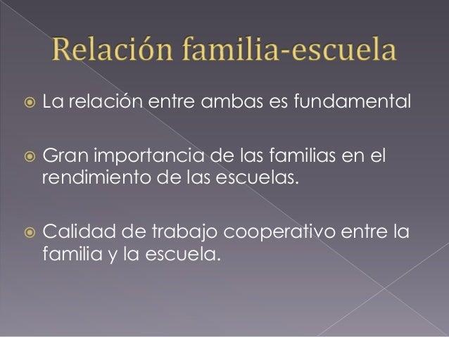  La relación entre ambas es fundamental  Gran importancia de las familias en el rendimiento de las escuelas.  Calidad d...