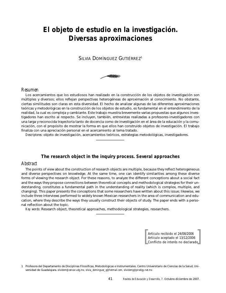 El objeto de estudio en la investigación.                        Diversas aproximaciones                                  ...