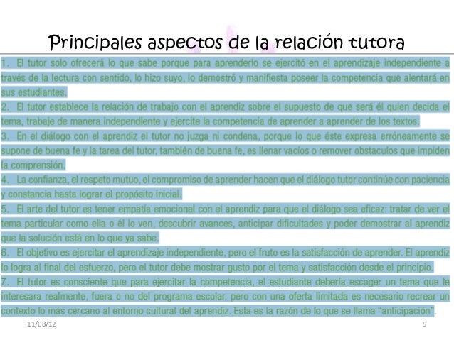 Principales aspectos de la relación tutora11/08/12                                          9