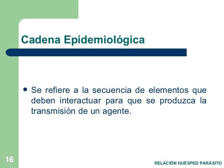 Cadena Epidemiológica <ul><li>Se refiere a la secuencia de elementos que deben interactuar para que se produzca la transmi...