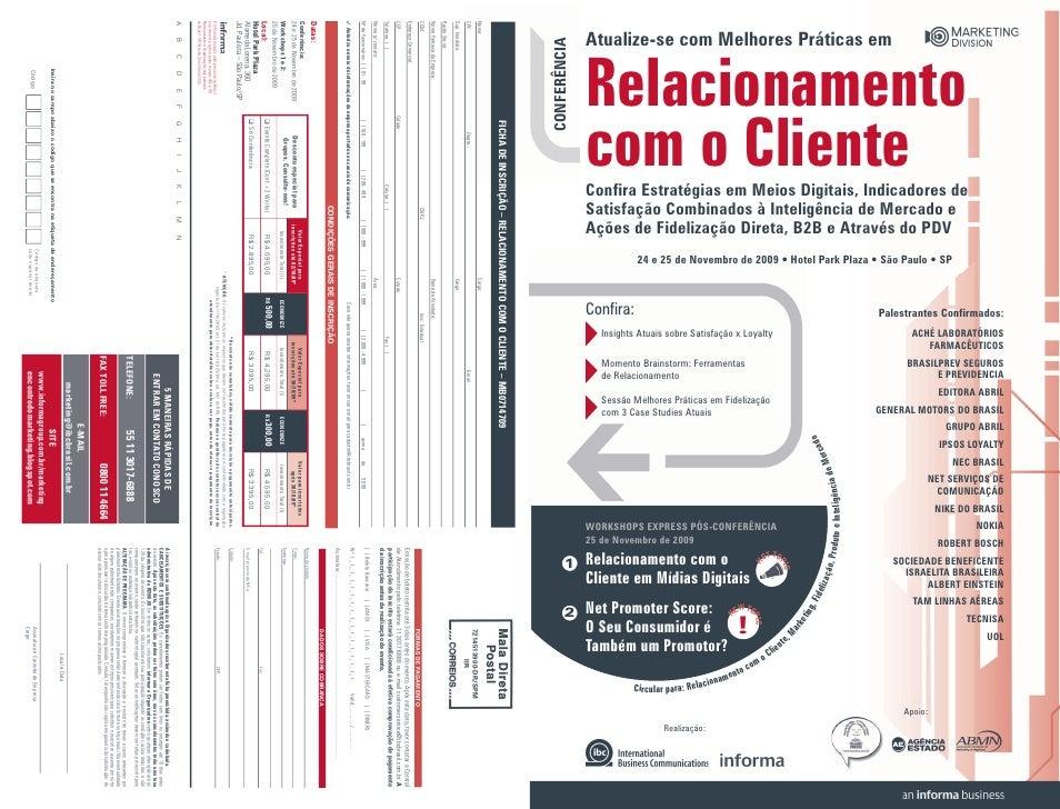 Atualize-se com Melhores Práticas em CONFERÊNCIA                  Relacionamento               com o Cliente              ...