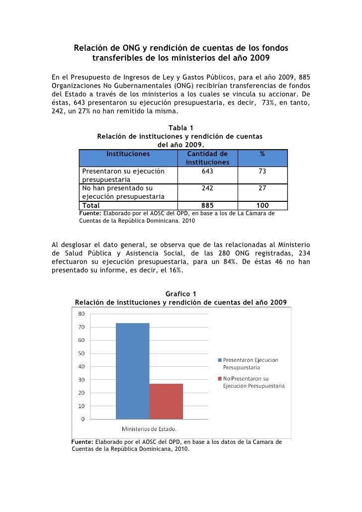 Relación de ONG y rendición de cuentas de los fondos           transferibles de los ministerios del año 2009  En el Presup...