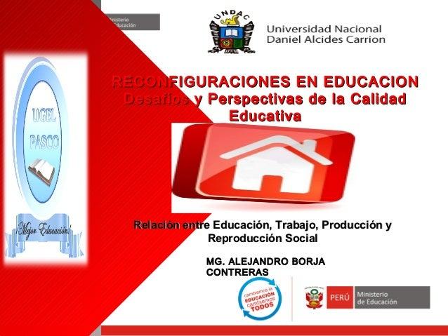RECONFIGURACIONES EN EDUCACION Desafíos y Perspectivas de la Calidad Educativa  Relación entre Educación, Trabajo, Producc...