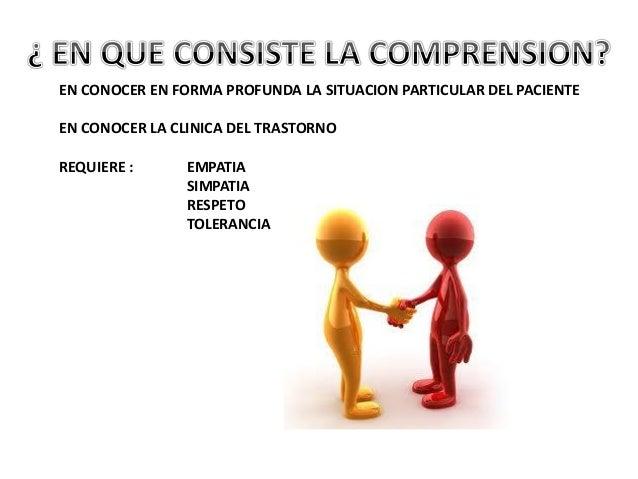 EN CONOCER EN FORMA PROFUNDA LA SITUACION PARTICULAR DEL PACIENTE EN CONOCER LA CLINICA DEL TRASTORNO REQUIERE : EMPATIA S...