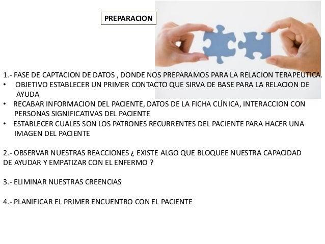 PREPARACION 1.- FASE DE CAPTACION DE DATOS , DONDE NOS PREPARAMOS PARA LA RELACION TERAPEUTICA. • OBJETIVO ESTABLECER UN P...