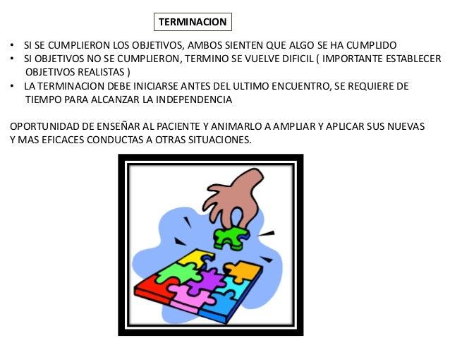 TERMINACION • SI SE CUMPLIERON LOS OBJETIVOS, AMBOS SIENTEN QUE ALGO SE HA CUMPLIDO • SI OBJETIVOS NO SE CUMPLIERON, TERMI...