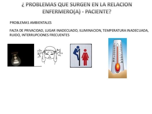 PROBLEMAS AMBIENTALES FALTA DE PRIVACIDAD, LUGAR INADECUADO, ILUMINACION, TEMPERATURA INADECUADA, RUIDO, INTERRUPCIONES FR...