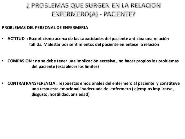 PROBLEMAS DEL PERSONAL DE ENFERMERIA • ACTITUD : Escepticismo acerca de las capacidades del paciente anticipa una relación...