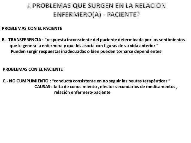 """PROBLEMAS CON EL PACIENTE B.- TRANSFERENCIA : """"respuesta inconsciente del paciente determinada por los sentimientos que le..."""