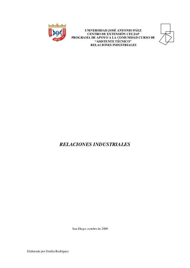 """UNIVERSIDAD JOSÉ ANTONIO PÁEZ CENTRO DE EXTENSIÓN CEUJAP PROGRAMA DE APOYO A LA COMUNIDAD CURSO DE """"ASISTENTE TÉCNICO"""" REL..."""
