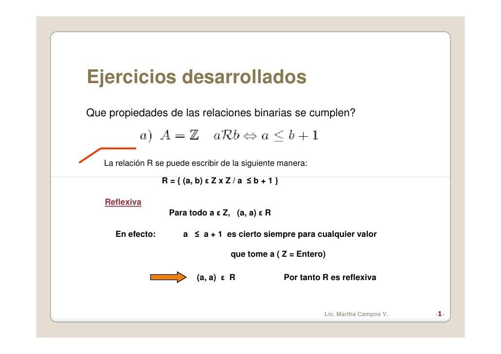 Ejercicios desarrollados Que propiedades de las relaciones binarias se cumplen?       La relación R se puede escribir de l...