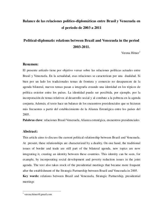 Balance de las relaciones político-diplomáticas entre Brasil y Venezuela en                              el período de 200...