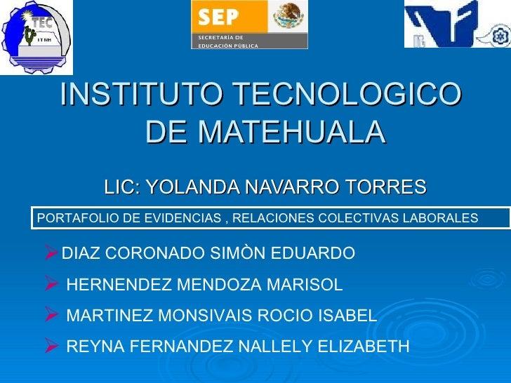 INSTITUTO TECNOLOGICO  DE MATEHUALA LIC: YOLANDA NAVARRO TORRES <ul><li>DIAZ CORONADO SIMÒN EDUARDO </li></ul><ul><li>HERN...